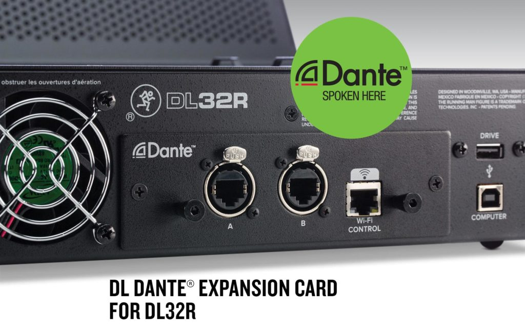 A DANTE expansion card for the Mackie DL32R
