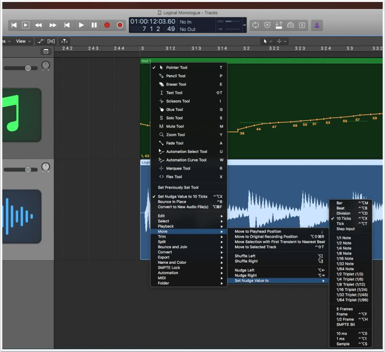 Nudging Recorded Audio in Logic Pro