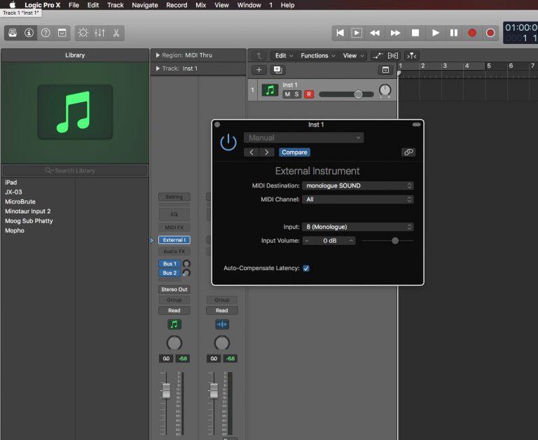 External Instrument settings in Logic Pro X