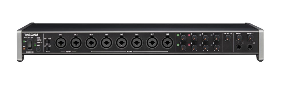 The front panel of the Tascam US-20X20 soundcard
