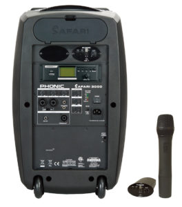 The Phonic Safari 3000 system includes a dedicated USB playback and wireless mic and receiver.