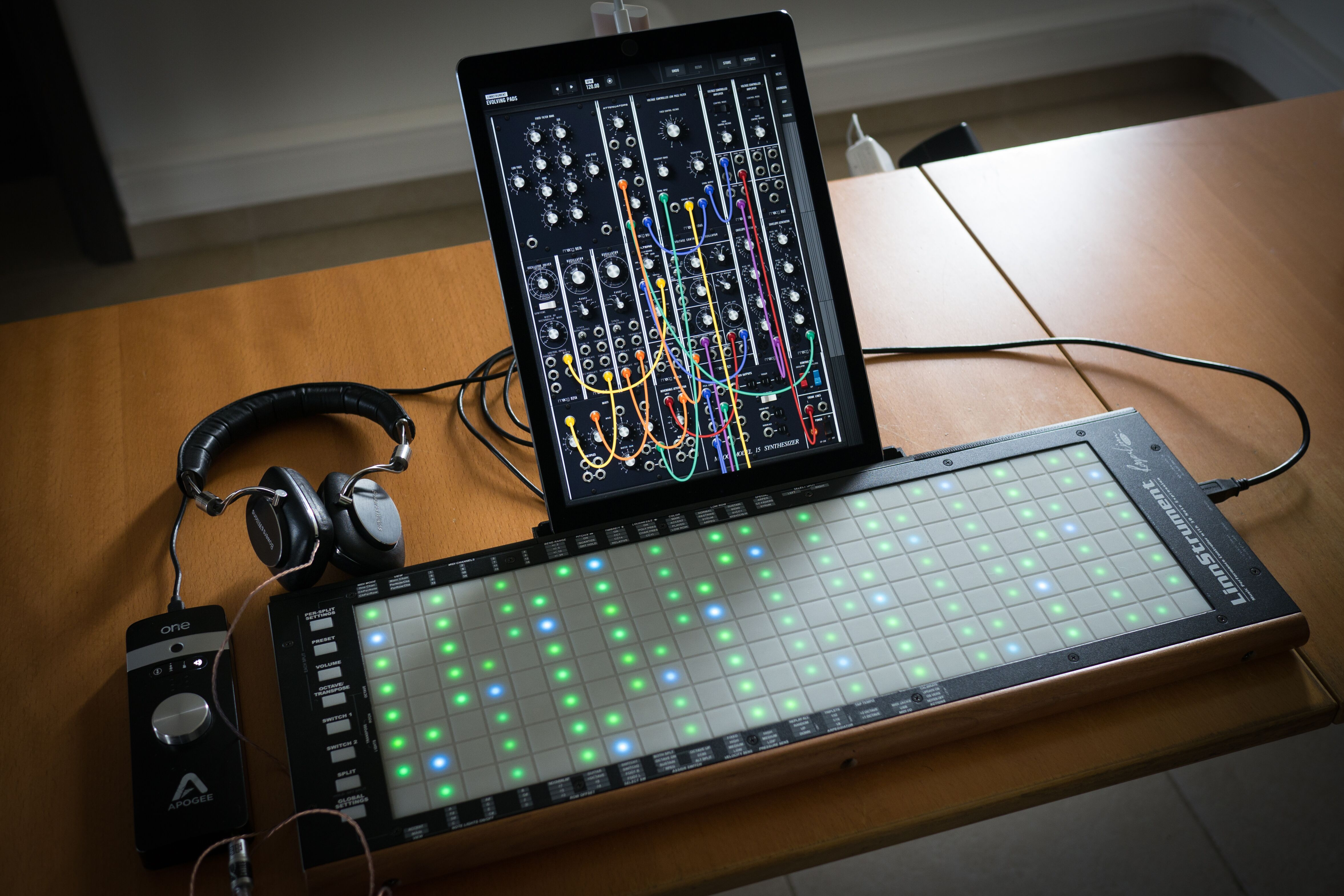 The MPE capable Linnstrument, controlling the Moog Model 15 iOS Synth