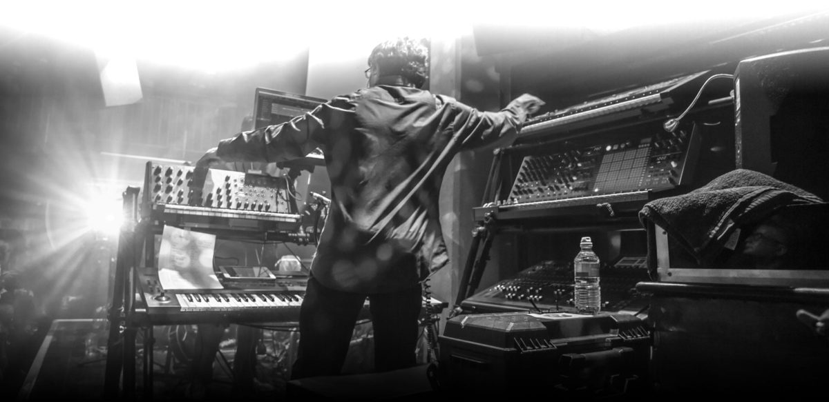Mark Ayer from the Radiophonic Workshop Band playing live with the Arturia Matrixbrute and Korg MS20.